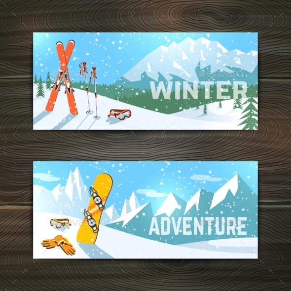 GraphicRiver Winter Sport Tourism Banners Set 10335931