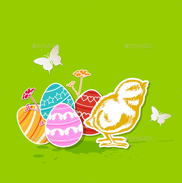 GraphicRiver Green Easter Background with Chicken 10335952