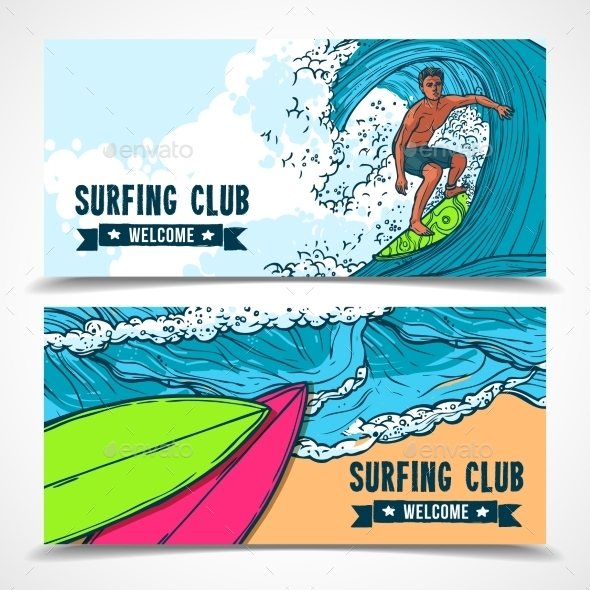 GraphicRiver Surfing Banners Set 10335971