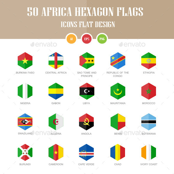GraphicRiver 50 Africa Flag Icons Hexagon Flat Design 10335973