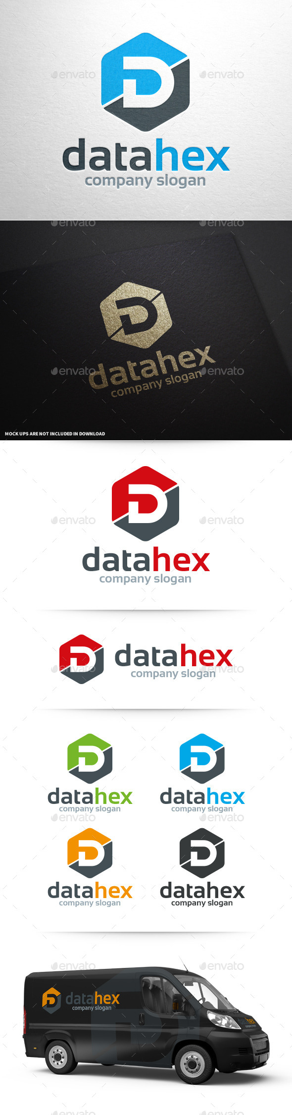 GraphicRiver Data Hex Letter D Logo 10335972