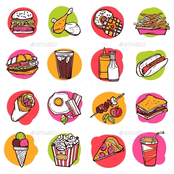 GraphicRiver Fast Food Icon Set 10336052