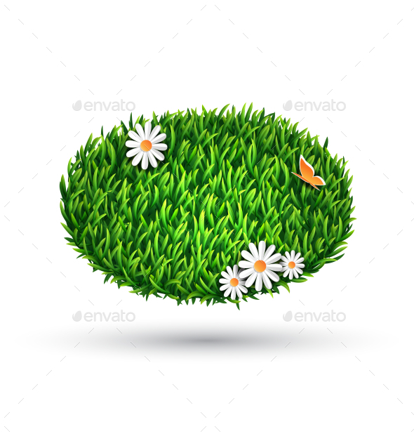 GraphicRiver Green Grass Oval with Chamomiles and Butterfly 10336065