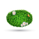 Green Grass Oval with Chamomiles and Butterfly - GraphicRiver Item for Sale