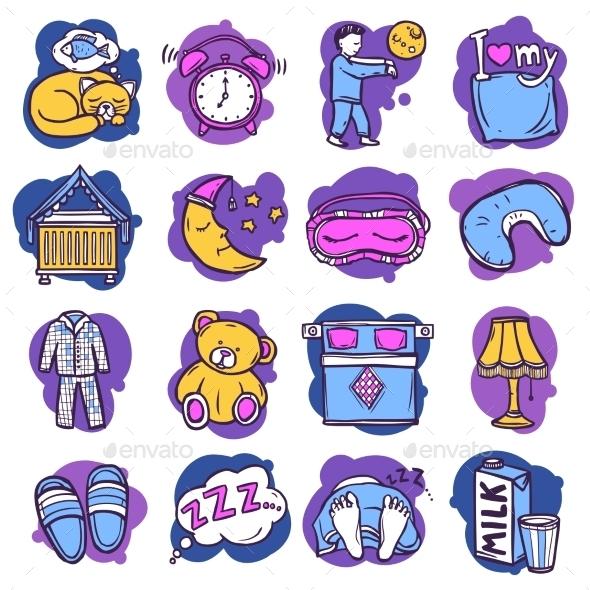 GraphicRiver Sleep Time Icons 10336066