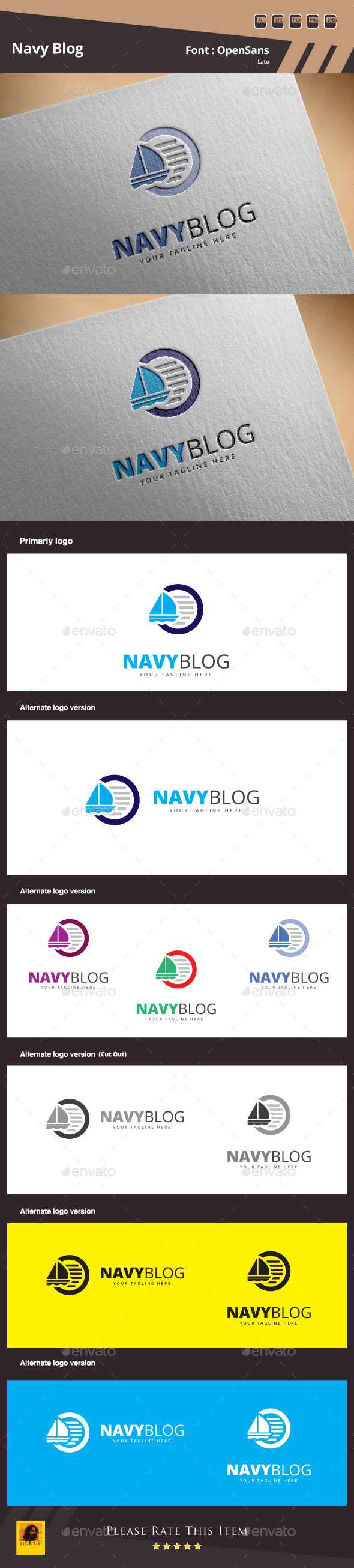 GraphicRiver Navy Blog Logo Template 10336223