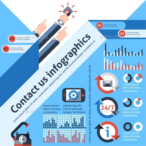 GraphicRiver Contact us infographics 10336284