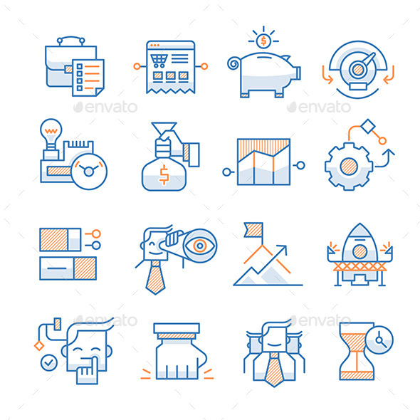 GraphicRiver Business Startup Icons Collection 10336304