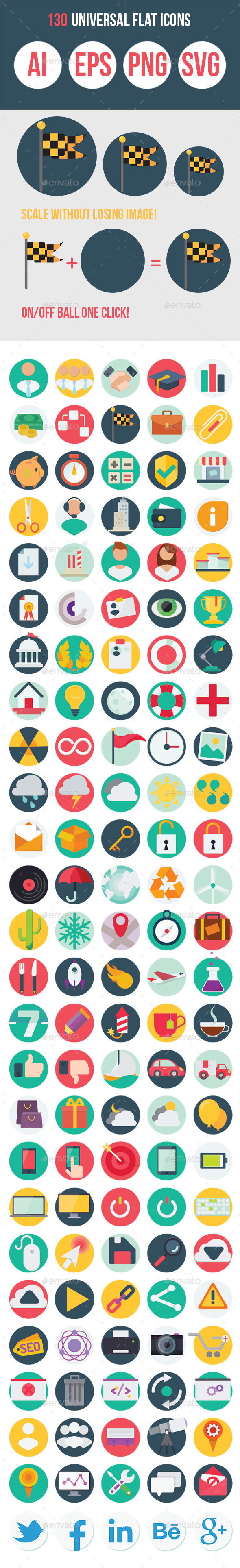 GraphicRiver 130 Universal Flat Icons 10318121