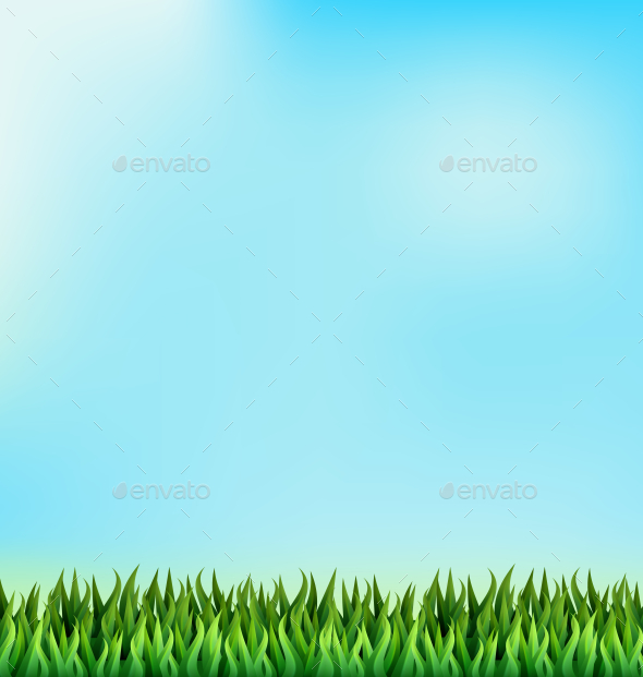 GraphicRiver Green Grass Lawn on Blue Sky Background 10336410