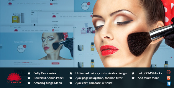ThemeForest MT Cosmetic elegant responsive magento theme 10336656