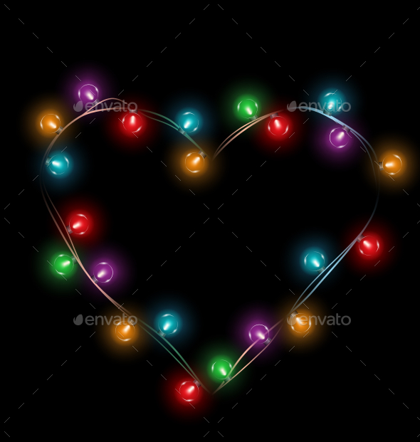 Multicolored Glassy Lights Like Heart Frame