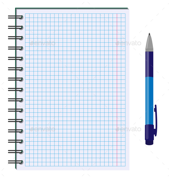 GraphicRiver Blank Paper Sheet with Pen Isolated on White 10336819