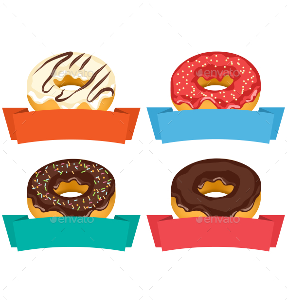 Four Donuts with Frames for Text Isolated on White