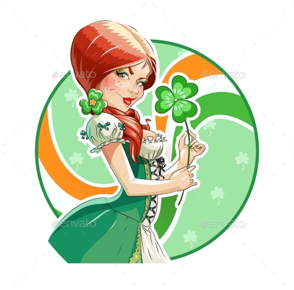 GraphicRiver Beautiful Girl with Shamrock for Saint Patricks 10336912