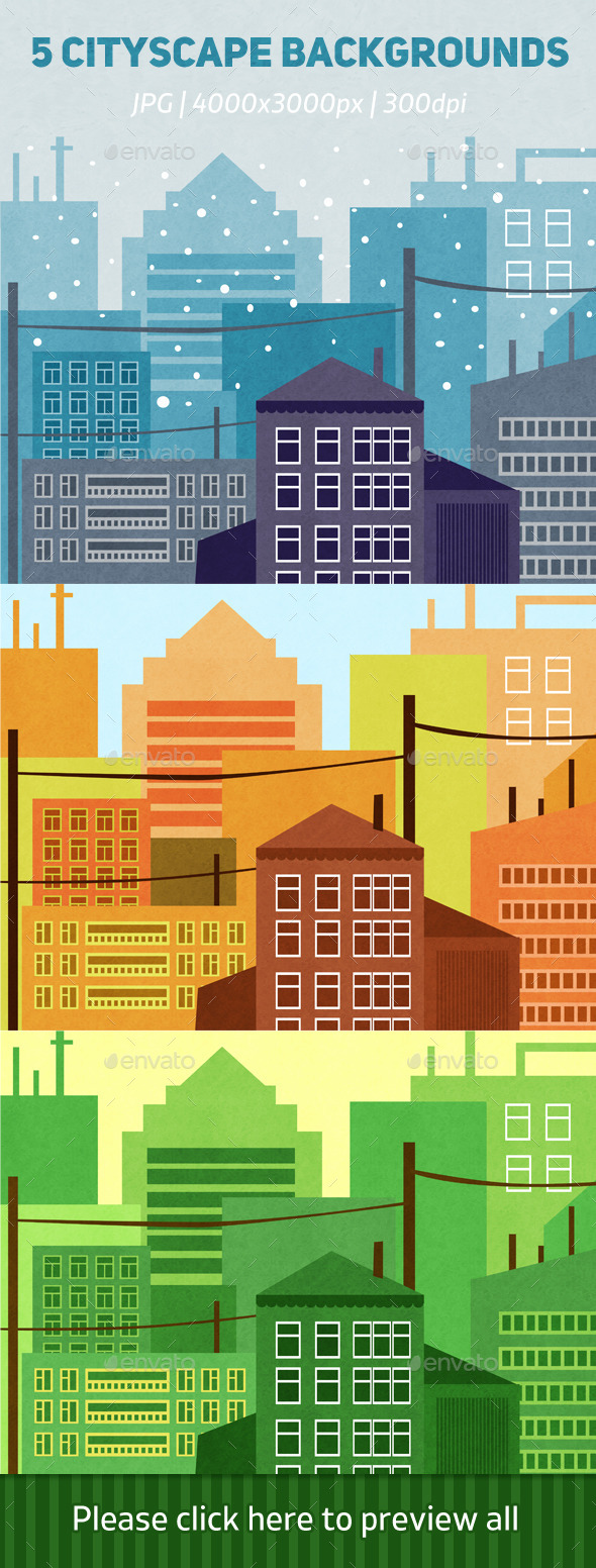 GraphicRiver 5 Cityscape Backgrounds 10336932