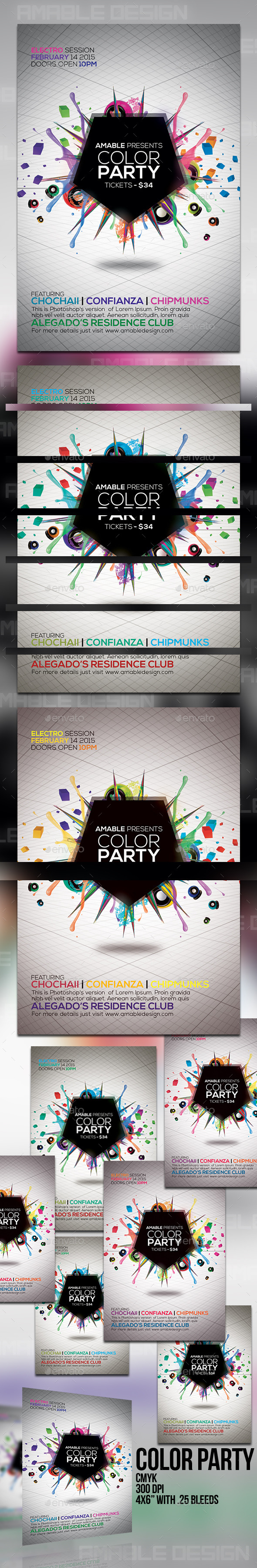 GraphicRiver Color Party Flyer 10337033