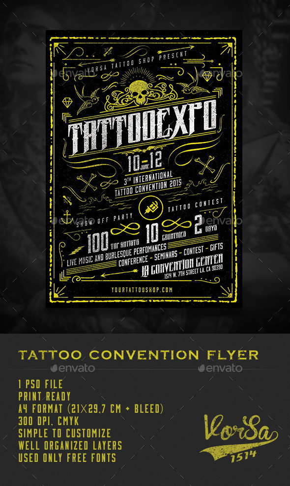 GraphicRiver Tattoo Convention Flyer 10337083