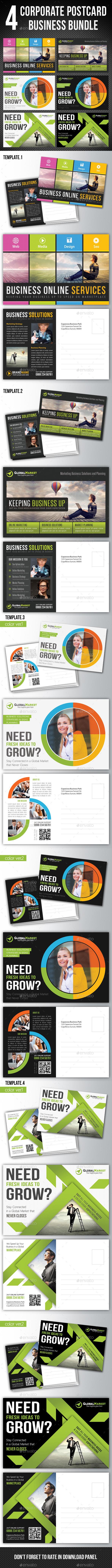 4 in 1 Corporate Business Postcard Bundle V01