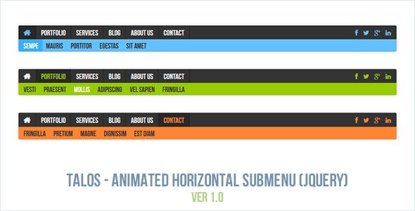 Talos - Animated Horizontal Submenu jQuery Plugin - CodeCanyon Item for Sale