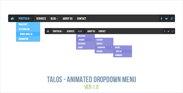 Talos - Animated Dropdown Menu - CodeCanyon Item for Sale