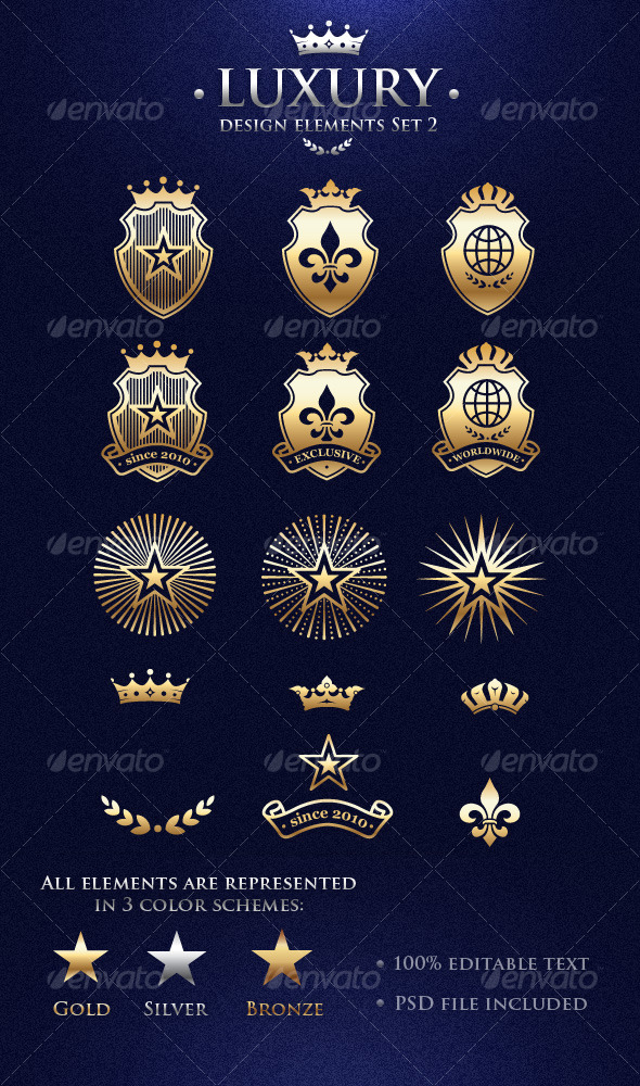 Vector Luxury Design Elements Set 2 - Decorative Symbols Decorative