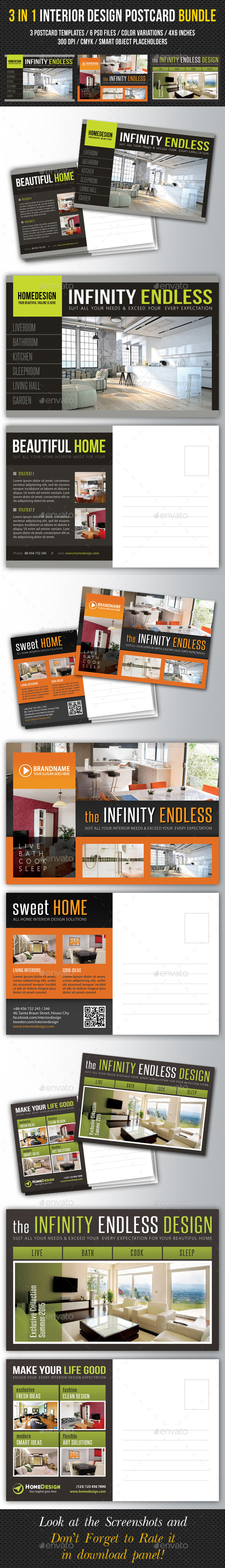 GraphicRiver 3 in 1 Interior Design Postcard Template Bundle 02 10337937