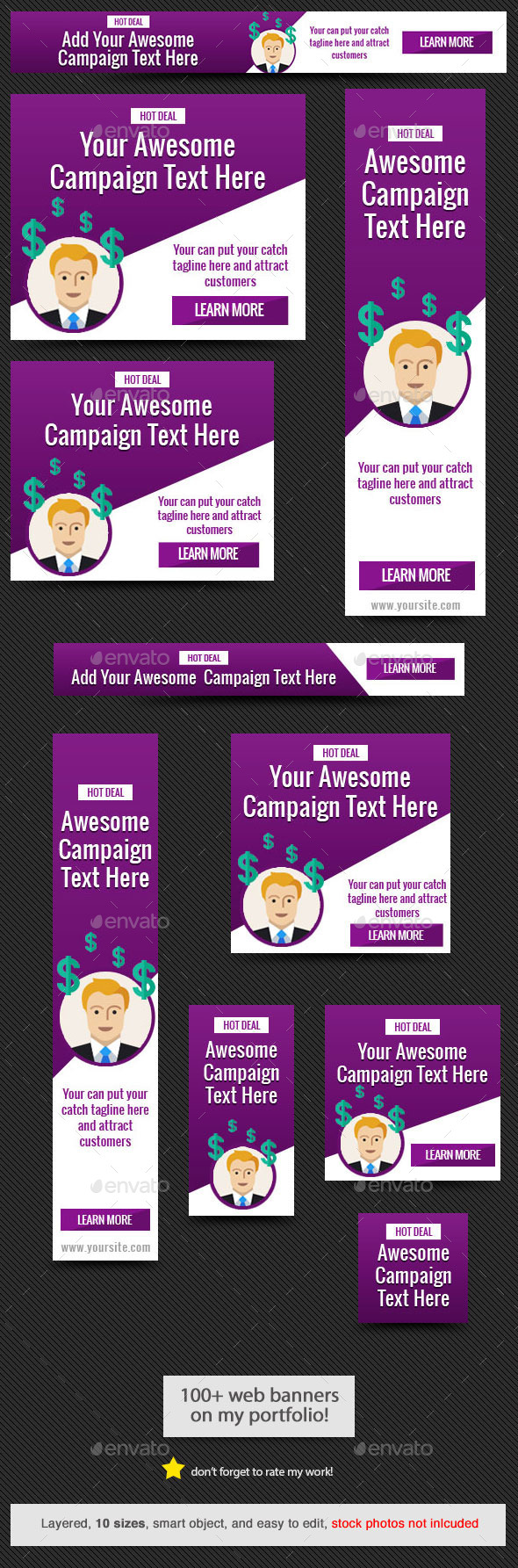 GraphicRiver Purple Power Web Banner 10337971