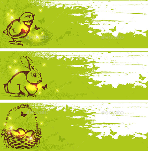 Green Easter Horizontal Banners