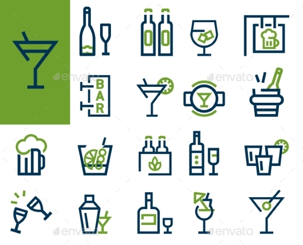GraphicRiver Drink Alcohol Beverage Icons Set 10338189