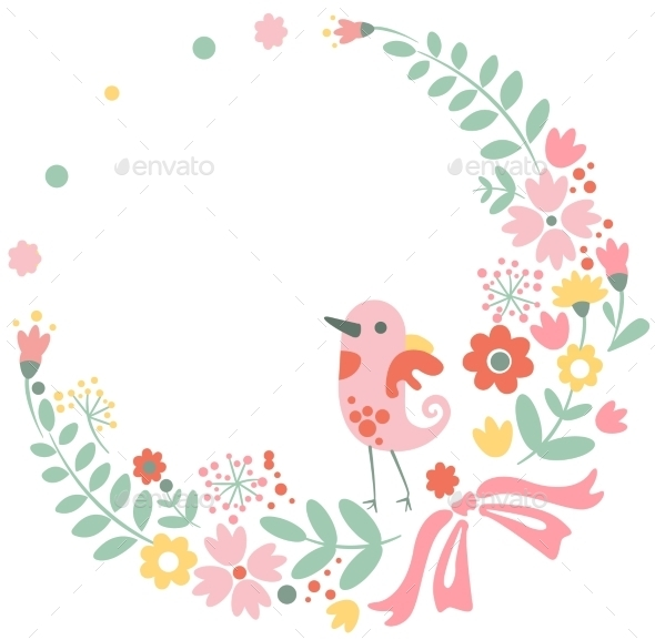 GraphicRiver Vintage Floral Background with Cute Bird in Pastel 10338221