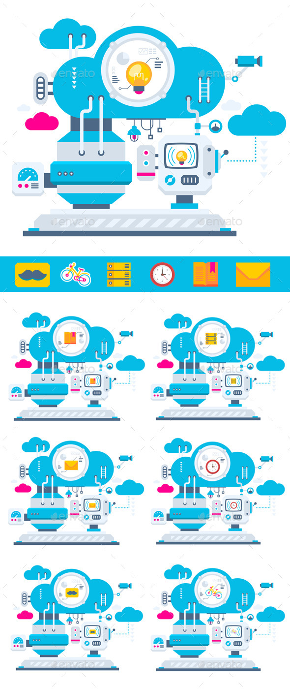 GraphicRiver Flat Cloud Technology Service 10338238