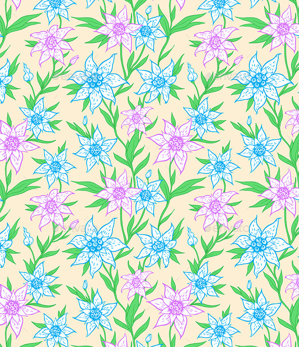 GraphicRiver Pattern with Blue Flowers and Leaves 10338351