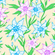 Pattern with Blue Flowers and Leaves - GraphicRiver Item for Sale