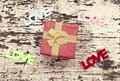 Still life of gift box on grunge wood background, valentine background - PhotoDune Item for Sale