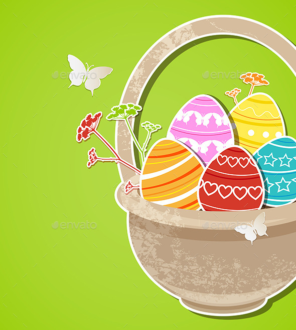 GraphicRiver Easter Background with Eggs in Basket 10338496