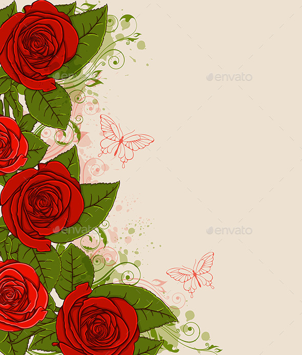 GraphicRiver Red Roses and Butterflies 10338657