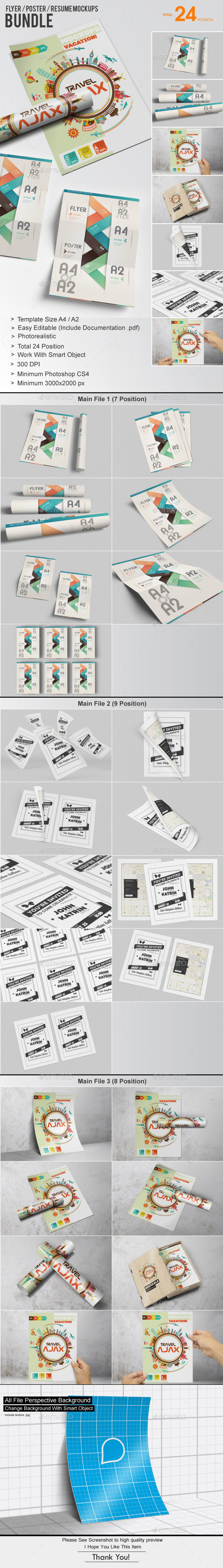 GraphicRiver Flyer Poster Resume Mockups Bundle 10338736