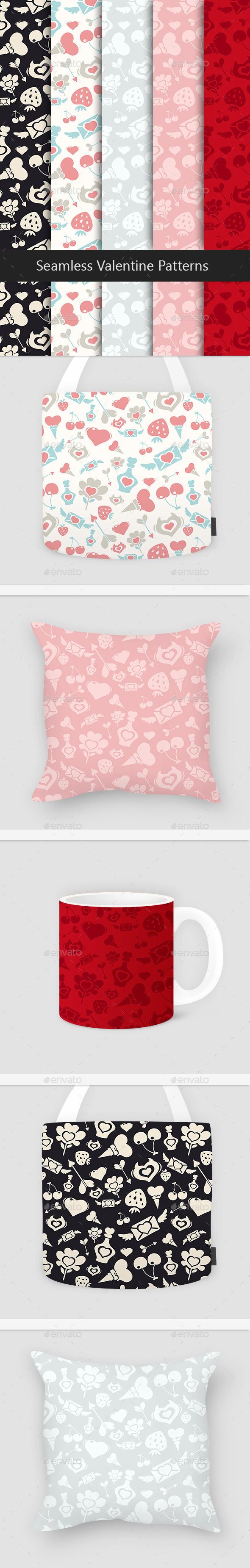 GraphicRiver Seamless Valentine Patterns Set 10338940