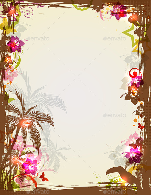 GraphicRiver Tropical Frame with Palms and Toucan 10338959