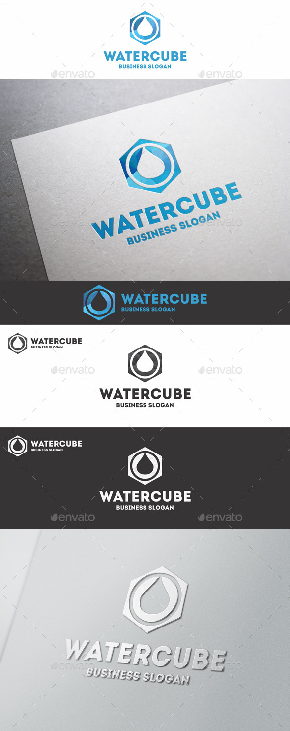 GraphicRiver Water Cube Polygon Logo 10339303
