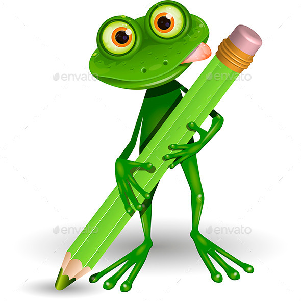 GraphicRiver Frog with Pencil 10339324