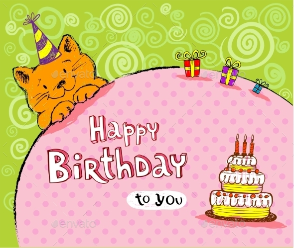 GraphicRiver Birthday Greeting Card with Red Cat 10339329
