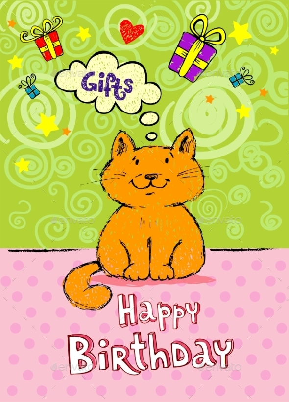 GraphicRiver Birthday Greeting Card with Red Cat 10339338