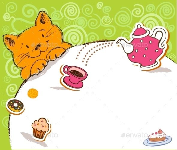 Greeting Card with Red Cat and Place for Text