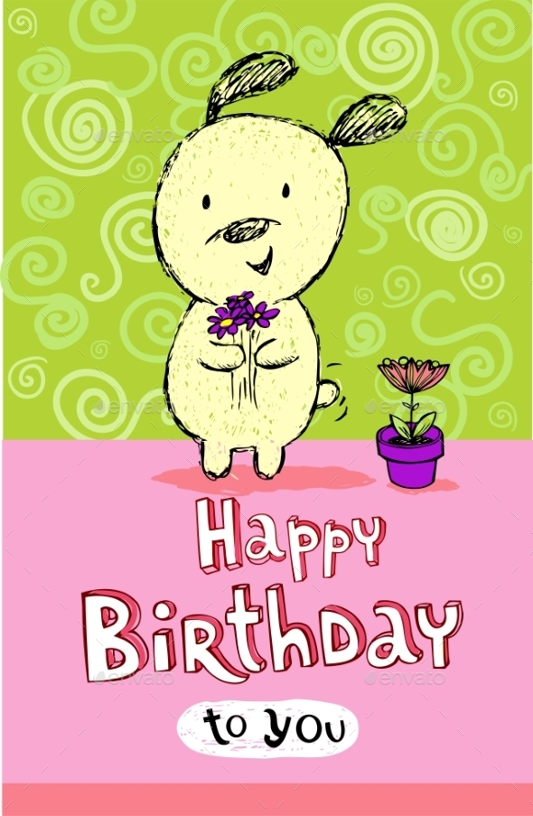 GraphicRiver Birthday Greeting Card with Puppy 10339353