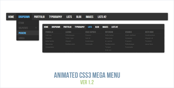 Download Animated CSS3 Mega Menu nulled download