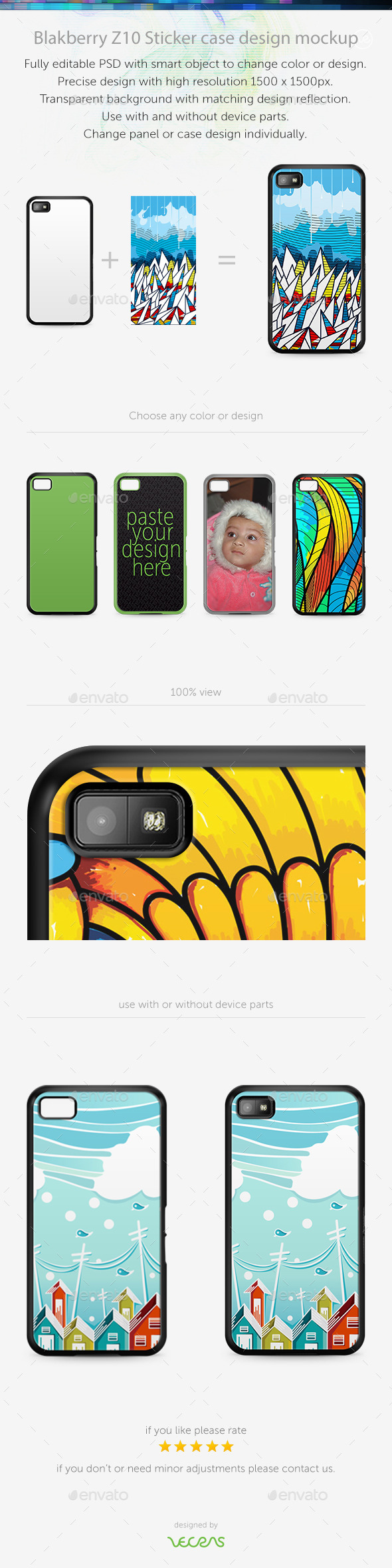 GraphicRiver Blakberry Z10 Sticker Case Design Mockup 10340269