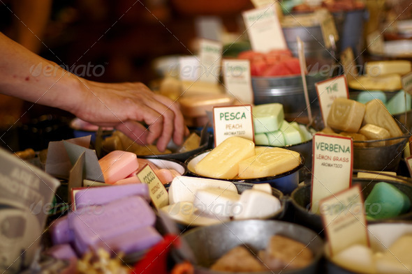 A selection of home made soaps - Stock Photo - Images