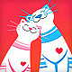 Love greeting card with happy cats - GraphicRiver Item for Sale